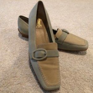 Amalfi Two-tone Leather Loafers Green/Gold Sz 8.5